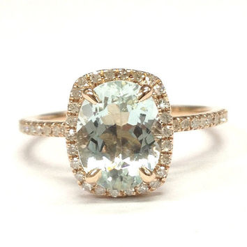 Aquamarine Engagement Ring 14K Rose Gold!6x8mm Oval Cut Blue Aquamarine,Halo Diamond Engagement Ring,Wedding Bridal Ring,Claw Prongs