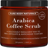 100% Natural Arabica Coffee Scrub with Organic Coffee, Coconut and Shea Butter - Best Acne, Anti Cellulite and Stretch Mark treatment, Spider Vein Therapy for Varicose Veins & Eczema 8.8oz (1 Pack)