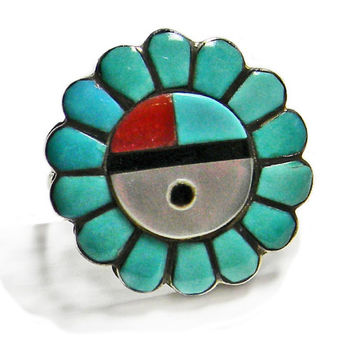 Zuni Sun Face Ring Signed Turquoise Coral Mother of Pearl MOP Jet Flower Silver Ring