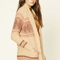 Abstract Print Shawl Cardigan