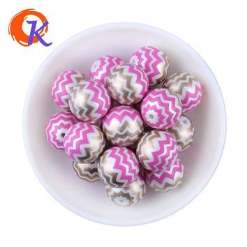 CREYONHS New Arrival 20MM 100pcs/lot Hot Pink Shinny Mix Color Acrylic Pearl Print Chevron Beads Chunky Necklace Children Jewelry Making