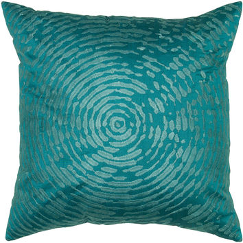 """Embroidered Peacock Blue Pillow Cover (18"""" x 18"""")"""