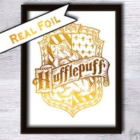 Hufflepuff crest art print Hufflepuff House poster Harry Potter real foil print Real gold foil decor Home decoration Kids room art decor G44