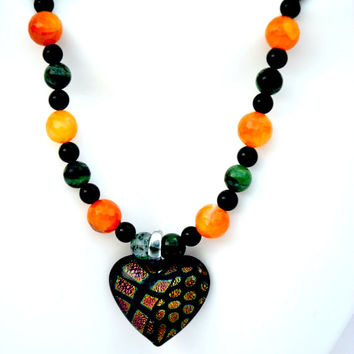 Flashy Heart Necklace. Heart. Hearts. Lamp Glass. Orange. Green. Black. Calcite. Serpentine. Onyx. Necklace. Jewelry. Pendant. Semiprecious