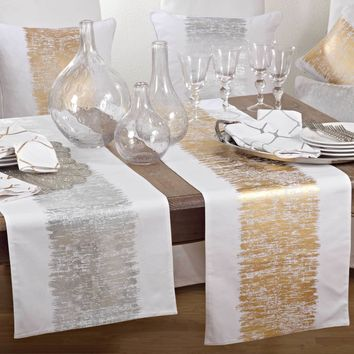 Agatha Metallic Print Table Runner | 72-inch