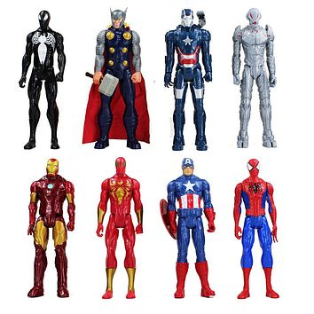 30cm Super Heroes The Iron Man Spider Man Captain American Thor Action Figure Toy PVC Superhero Model Doll With Box