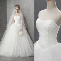 2017 New A Line Lace Sweetheart Off the shoulder Sleeveless White Satin Bridal Wedding Dress Wedding Gown 30335