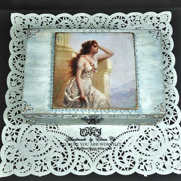 Hand Decorated Box, Shabby chic Jewelry Box, Old Antique Greek box, Distressed blue gray Box, Trinket Box, woman portrait, decoupage