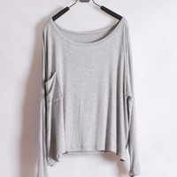 Women Long Sleeve Scoop Grey Cotton Blouse One Size@T012g $8.37 only in eFexcity.com.