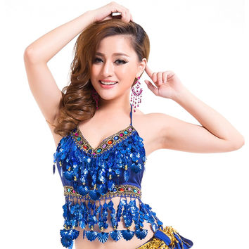 Sexy Women Indian Dance Belly Dance Costumes Chiffon Sequins Belly Dancing Tops Clothes LM75