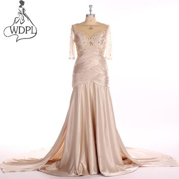 Real Photo Elegant Champagne Long Prom Dresses 2017 New Sheer Half Sleeve Mermaid Evening Dress Fashion Pleat Formal Party Gowns