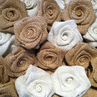 Burlap Flowers Roses Shabby Chic Wedding Decor Set of 10