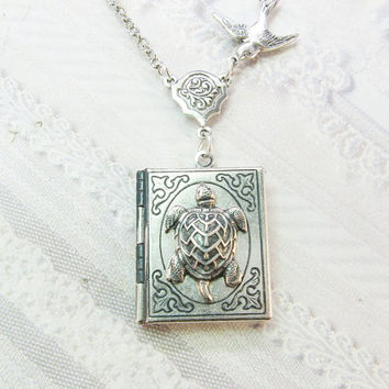 Silver Locket Necklace - The ORIGINAL Silver Turtle Book Locket - TURTLE LOCKET - Sea Turtle - by BirdzNbeez - Birthday Wedding Bridesmaids