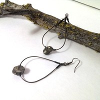 Hoop earrings wire wrapped with pyrite