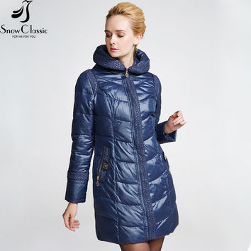 Snow Classic Female Winter Jacket 2016 Very Warm Winter Coats Hooded Jacket Parka Womens Quilted Coat 14392