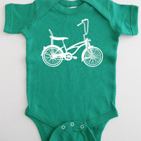 Bike Baby Onesuit Green Retro Bicycle by countercouturedesign