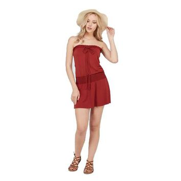Womens Smock Strapless Dress With Elastic Waistband