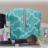 Mint Makeup Bag, Bridesmaid Gift, Monogram Available