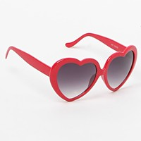 With Love From CA Red Plastic Heart Sunglasses - Womens Sunglasses - Red - One