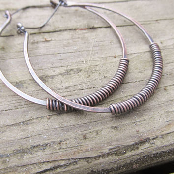 Copper Hoop Earrings Wire WrapCopper Hoops Big Earrings Rustic Jewelry DanielleRoseBean Large Hoop Earrings