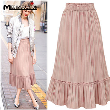 MEETMEFASHION Korean Style Vintage Cute Pink Pleated Skirt Chiffon Long Women Spring Summer Skirt High Quality Solid Color Skirt
