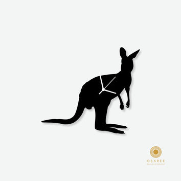 Australian Kangaroo Silhouette Nursery Wall Clock for Kids Room Decor, Gift for Children
