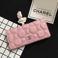 """Chanel"" Women Purse Fashion Simple Solid Color Long Section Button Wallet"