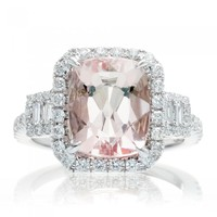 Morganite 10x8 cushion halo diamond engagement three stone ring white gold