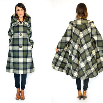vintage 1950s draped TRAPEZE plaid flannel wool SWING COAT, extra small-large