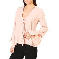 Annarita Pink V-Neck Long Sleeve Shirt