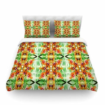 """Dawid Roc """"Tropical Flowers-Palm Leaves"""" Yellow Pattern Featherweight Duvet Cover"""
