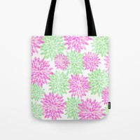 pink and green flowers Tote Bag by Sylvia Cook Photography