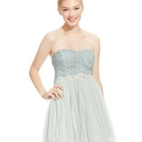 City Triangles Juniors' Embellished Metallic Lace Curly-Hem Dress | macys.com
