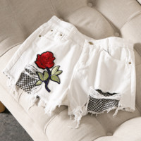 Summer jeans female new embroidery fishing nets burlap leisure hot pants female