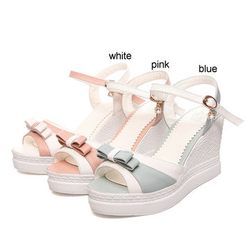 Women Wedges Sandals with Bowtie Ankle Straps Platform High-heeled Shoes