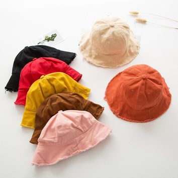 Cotton Baby Cap Summer Solid Color Bucket Hat Kids Fringed Edges Fisherman Hat Outdoor Leisure Folding Basin Caps