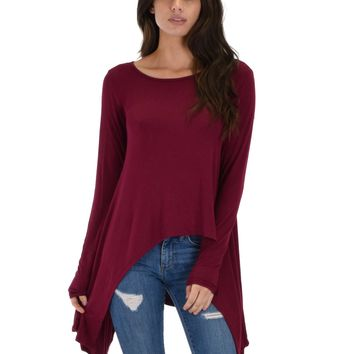 Lyss Loo Shift and Swing Long Sleeve Burgundy Tunic Top