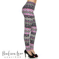 Pink Tribal Mix Leggings - One Size