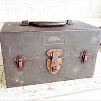 Kennedy Kits Metal Tackle Box, Big Horn Line, Vintage Metal Box