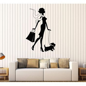 Vinyl Wall Decal Shopping Woman Dog Girl Fashion Style Stickers Unique Gift (416ig)