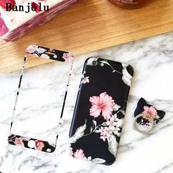 Banjolu Retro Flower Case + Tempered Glass Screen Protector+ Ring Holder Finger Grip Case for iPhone 7 6 6s Plus Soft TPU Cases