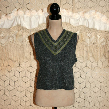 Vintage Gray Tweed Sweater Vest Sleeveless Sweater Argyle Vest Pullover Vest Women Vest Vintage Vest Gray Vest Small Medium Womens Clothing