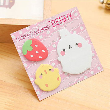 Sticky Notes Memo Pad Labels | Bookmark Stationary Paper | School Office Supplies | Strawberry Chick Rabbit Cute Korean Post-It M58