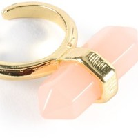 Stone + Locket Pink Crystal Ring