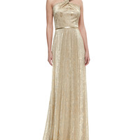 Women's Halter-Style Metallic Gown, Gold - David Meister - Gold (8)