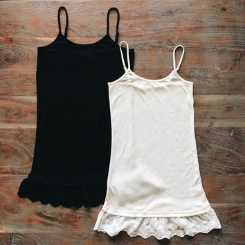 A Lace Layer Tank in Black