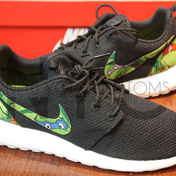 Nike Roshe Run Black Anthracite Teenage Mutant Ninja Turtles Cartoon Custom TMNT Men & Women