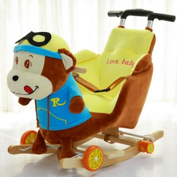 Children Rocking Horse Swing Chair Ride on Animal Toys Baby Rocking Chair with Music Baby Bouncer Wooden Swing Stroller 5M~4Y