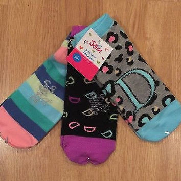 "Justice Girl's 3 Pairs Initial Socks ""D"" One Size Fits Most NWT Retail $15.90"