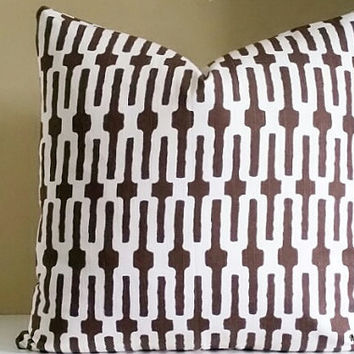 Annie Selke Chocolate Brown Pillow Cover,